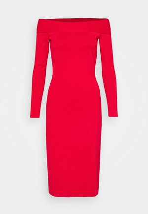 COMPACT SHINE BARDOT FITTED DRESS - Etui-jurk - red