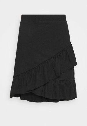 FRILL STRUCTURED SKIRT - Mini skirt - black