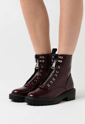 ONLBOLD LACE UP BOOT  - Platform ankle boots - burgundy
