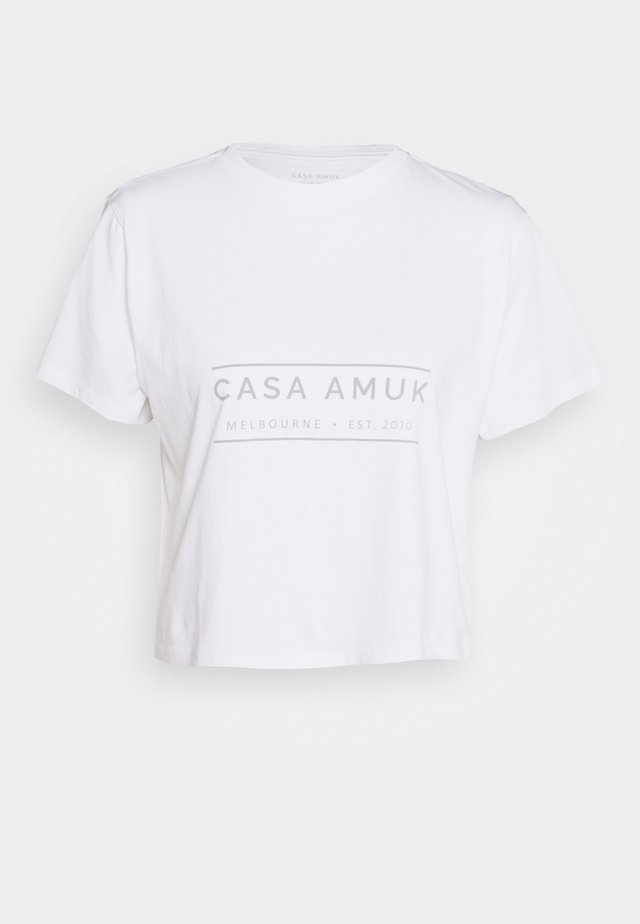 HERITAGE LOGO TEE - T-shirt z nadrukiem - white