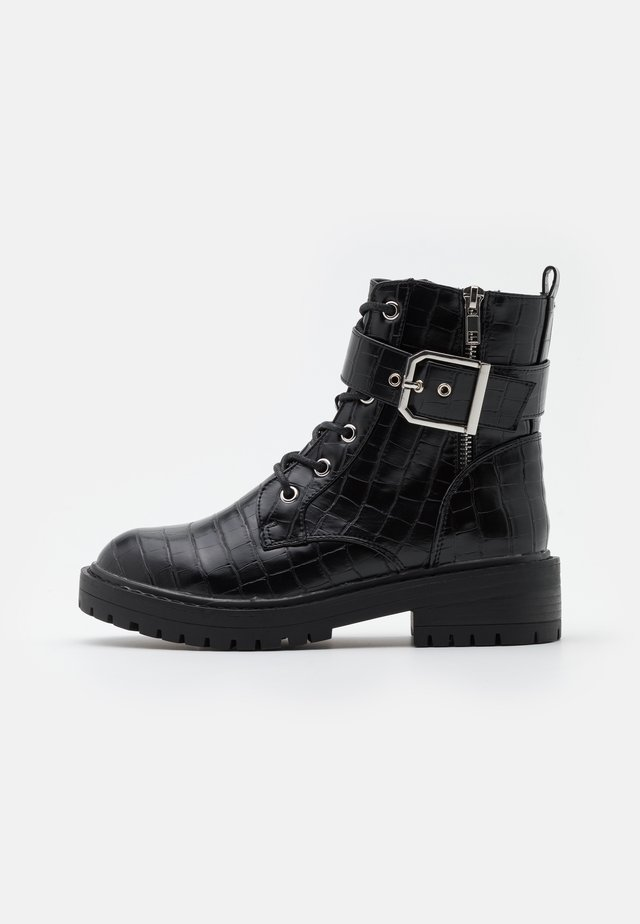 BEAM LACE UP CHUNKY - Cowboy- / Bikerstövletter - black