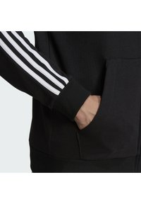 adidas Performance - ESSENTIALS FRENCH TERRY 3-STRIPES FULL-ZIP HOODIE - Zip-up hoodie - black - 5