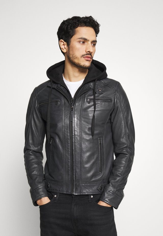 ERIC HOOD - Leather jacket - black