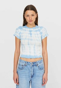 Stradivarius - T-shirt z nadrukiem - light blue - 0