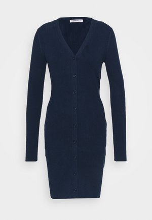 LOW FRONT DRESS WITH LONG SLEEVES - Day dress - navy