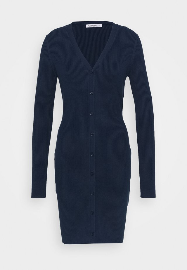 LOW FRONT DRESS WITH LONG SLEEVES - Denní šaty - navy