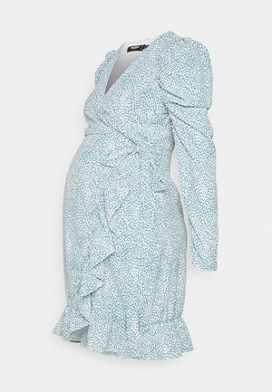 MATERNITY WRAP PLEATED SKIRT DRESS - Jersey dress - blue