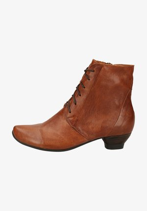 Lace-up ankle boots - cognac 3010