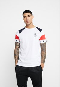 Brave Soul - STAR - Print T-shirt - white/navy/red - 0