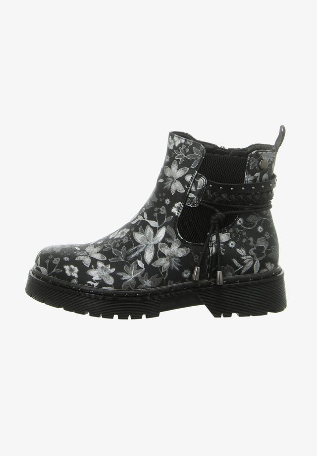 Classic ankle boots - black silver flower