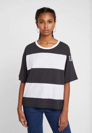 RUGBY STRIPE PARKER - Print T-shirt - mottled dark grey/white
