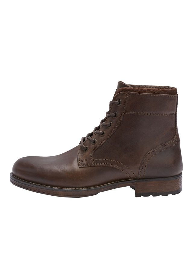 BROWN BORG LINED TALL BOOTS - Botki sznurowane - brown