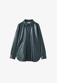 PULL&BEAR - Faux leather jacket - mottled dark green - 4