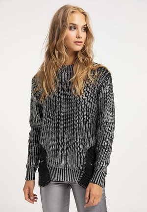 Jersey de punto - schwarz silber