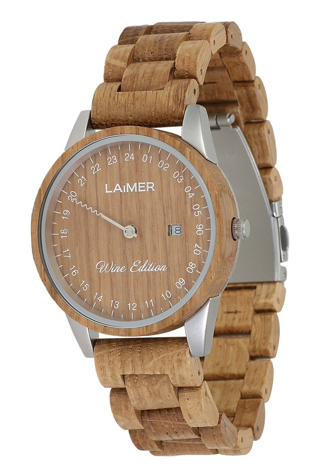LAIMER QUARZ HOLZUHR - ANALOGE ARMBANDUHR WINE EDITION MEN - Watch - ocher