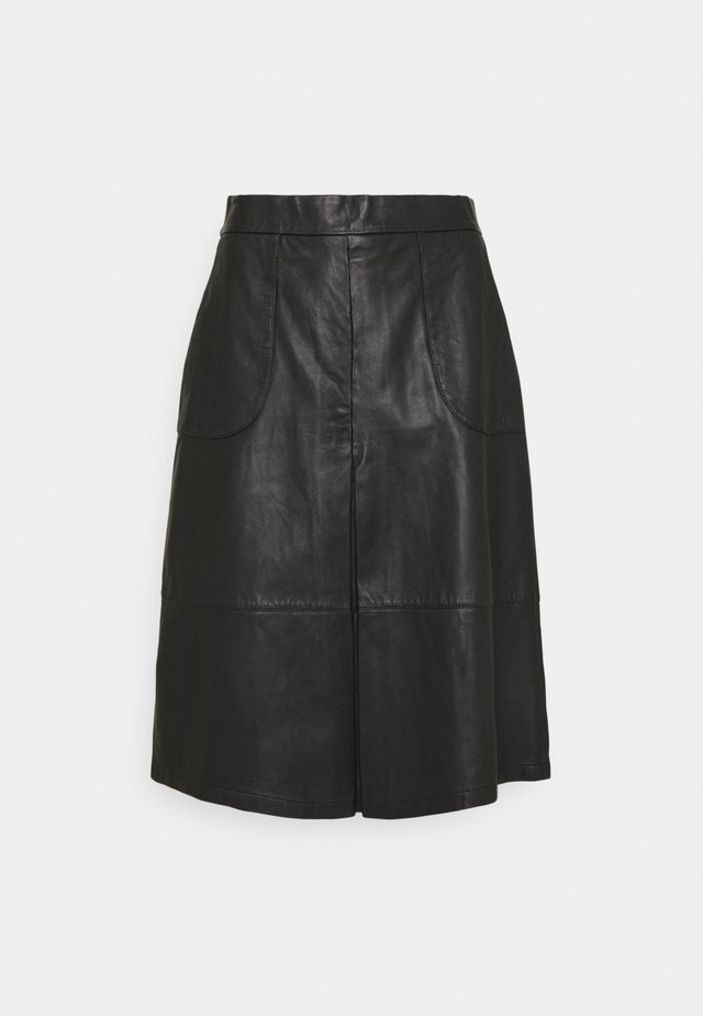 SKIRT - Leather skirt - black