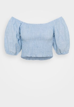 SHIRRED BARDOT - Blouse - blue