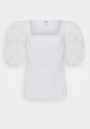SQUARE NECK ORGANZA SLEEVE TOP - Bluser - white