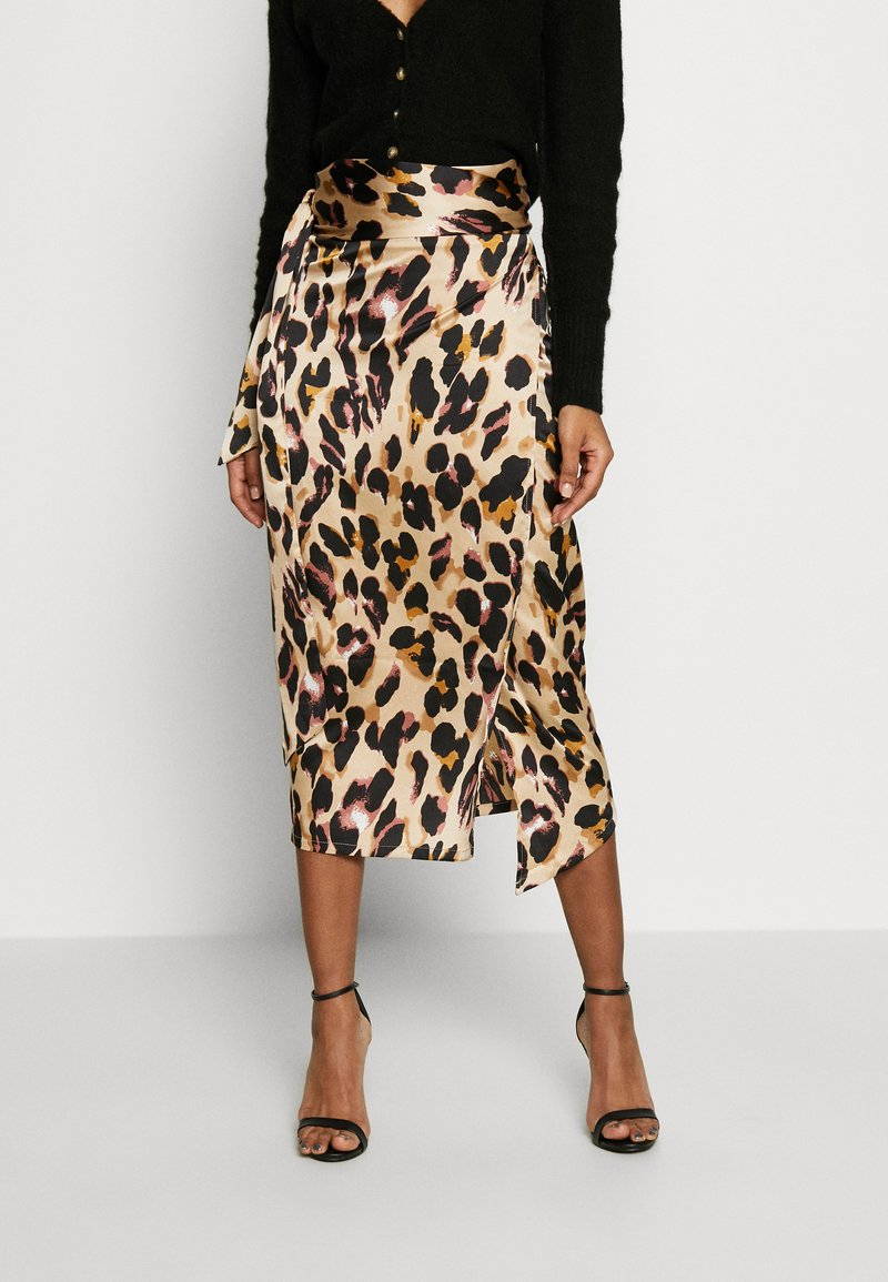 Never Fully Dressed - JASPRE WRAP MIDI SKIRT - Falda cruzada - brown