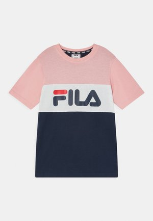 MARINA BLOCKED UNISEX - Print T-shirt - black iris/coral blush/bright white