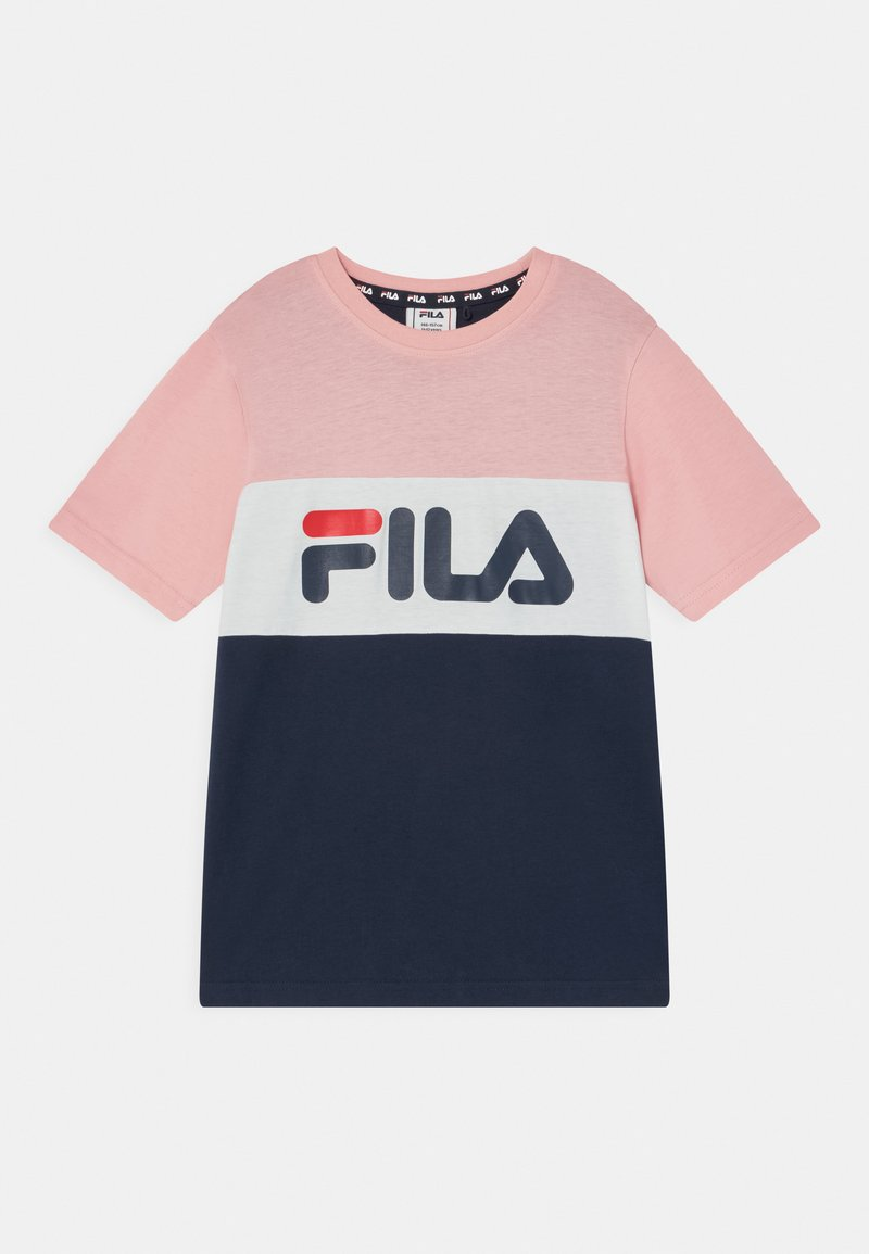 Fila - MARINA BLOCKED TEE UNISEX - Camiseta estampada - black iris/coral blush/bright white