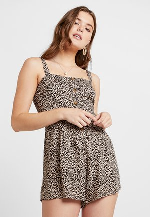 BUTTON FRONT ROMPER - Jumpsuit - beige/black