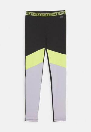 JUNIOR MICROFIBER - Leggings - Trousers - black/green combo