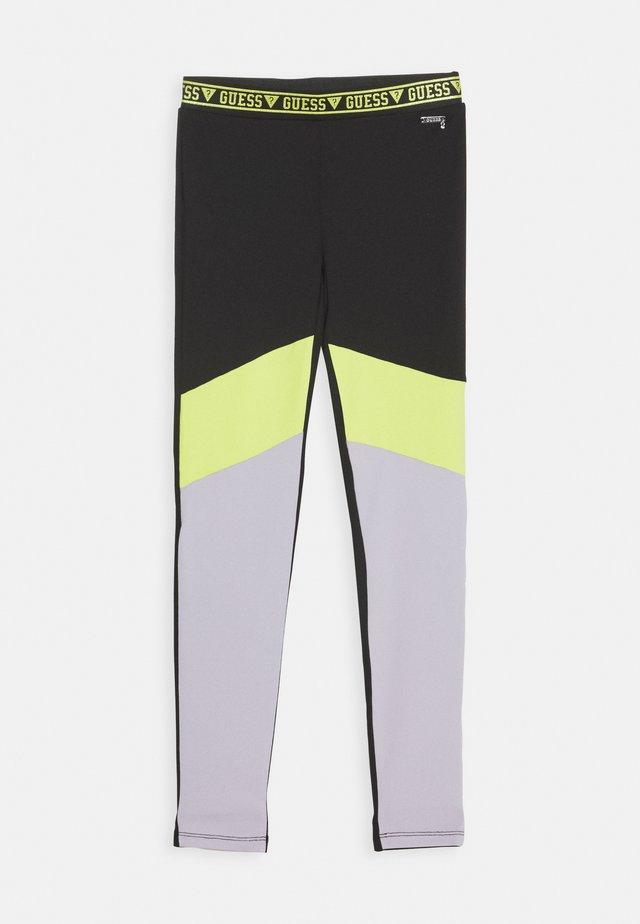 JUNIOR MICROFIBER - Leggings - Hosen - black/green combo