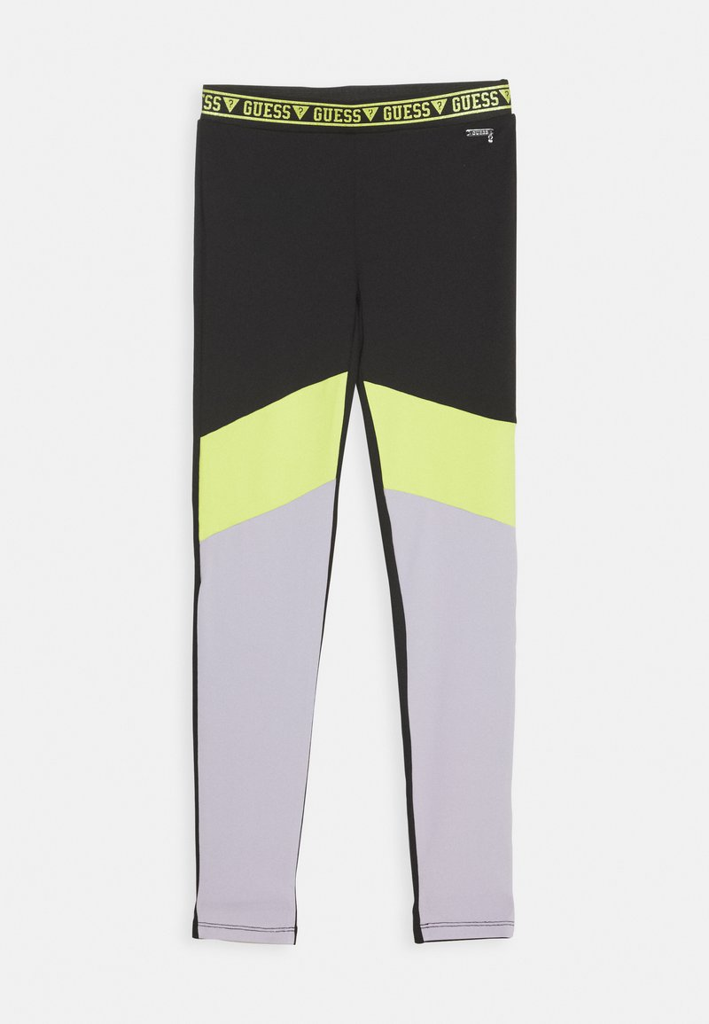 Guess - JUNIOR MICROFIBER - Leggings - Trousers - black/green combo