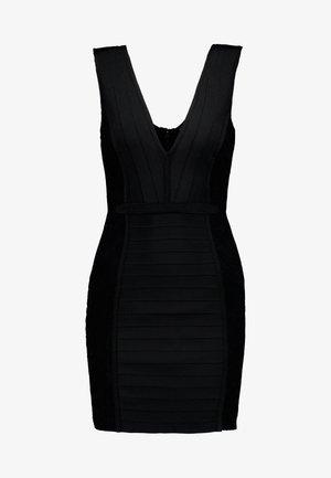 PLUNGE BANDAGE PANELLED BODYCON DRESS - Vapaa-ajan mekko - black