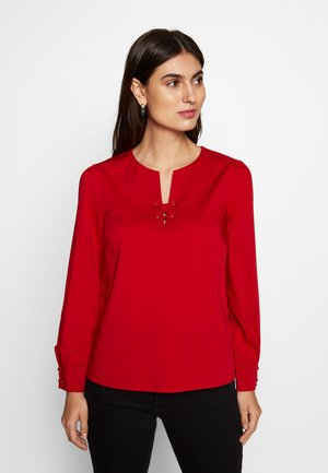 CREW NECK BASIC BLOUSE WITH EYELETS DETAILS IN COLLAR - Blusa - red