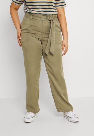 WIDE LEG PANT - Trousers - khaki