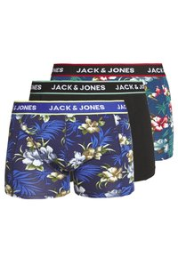 Jack & Jones - JACFLOWER TRUNKS 3 PACK - Panties - black/bardaboes cherry/maritime blue - 0