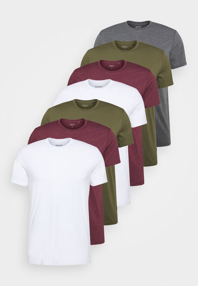 7 PACK - T-shirts - burgundy