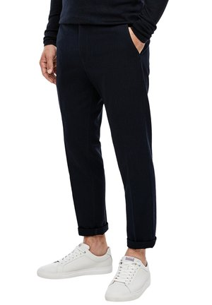 MIT HERRINGBONE-STRUKTUR - Suit trousers - dark blue dobby