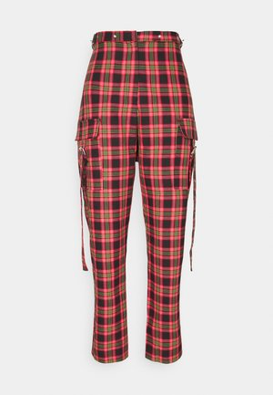 CHECK PANTS WITH EYELET STRAPS AND BUCKLES - Pantalon classique - red/multi