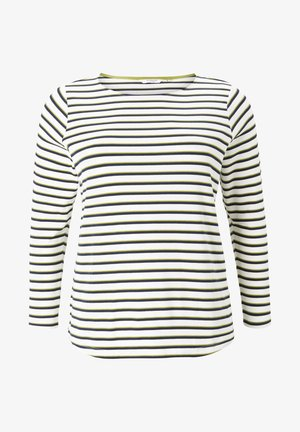 Long sleeved top - white wood navy stripe
