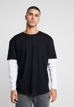 OVERSIZED SHAPED DOUBLE LAYER TEE - Long sleeved top - black/white