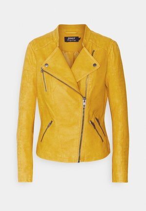 ONLAVA BIKER  - Faux leather jacket - golden yellow