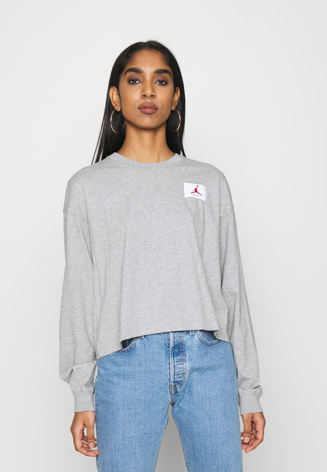 ESSENTIAL BOXY TEE - Long sleeved top - dark grey heather