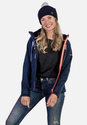 INATYE - Giacca softshell - navy blue/coral fluor