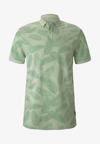 Koszulka polo - mint palm leaves print