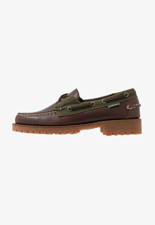 PORTLAND LUG MILLERAIN - Boat shoes - dark brown/olive
