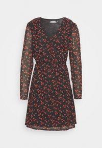 HALF BUTTON TEA DRESS FLORAL - Shirt dress - black