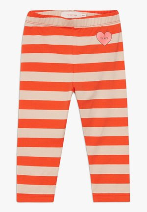 HEART STRIPES PANT - Legíny - light nude/red