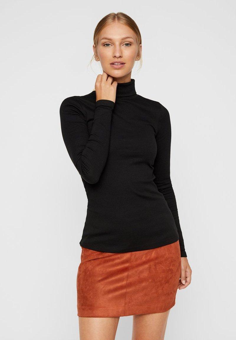 Vero Moda - ROLLKRAGEN - Top sdlouhým rukávem - black