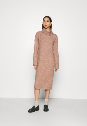 VMCARINA LONG COWLNECK DRESS - Jumper dress - tortoise shell/white melange