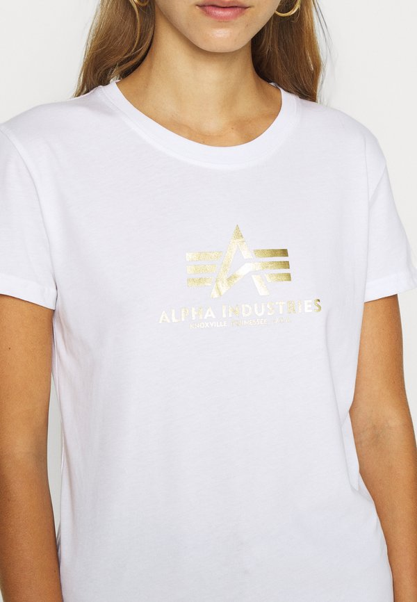 Alpha Industries NEW FOIL - T-shirt z nadrukiem - white/metal gold Nadruk Odzież Damska AFRO BJ 8