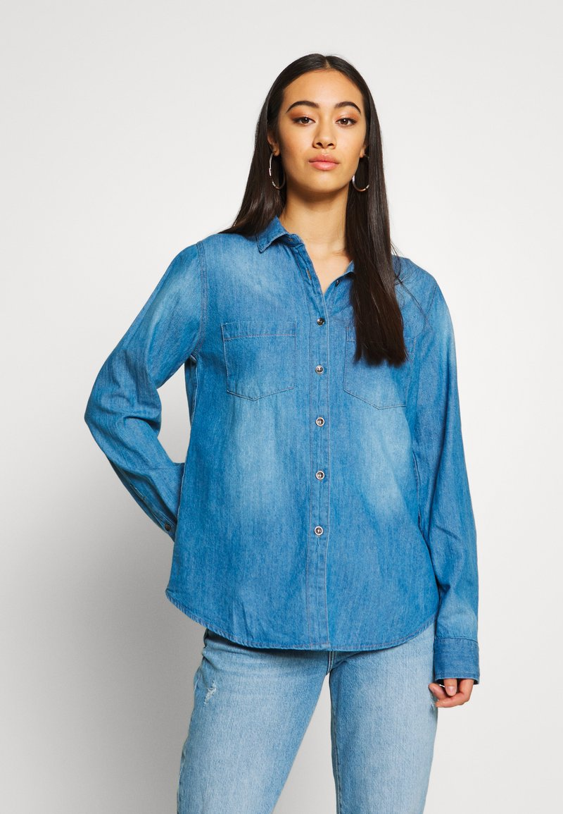 Cotton On - Button-down blouse - mid blue wash