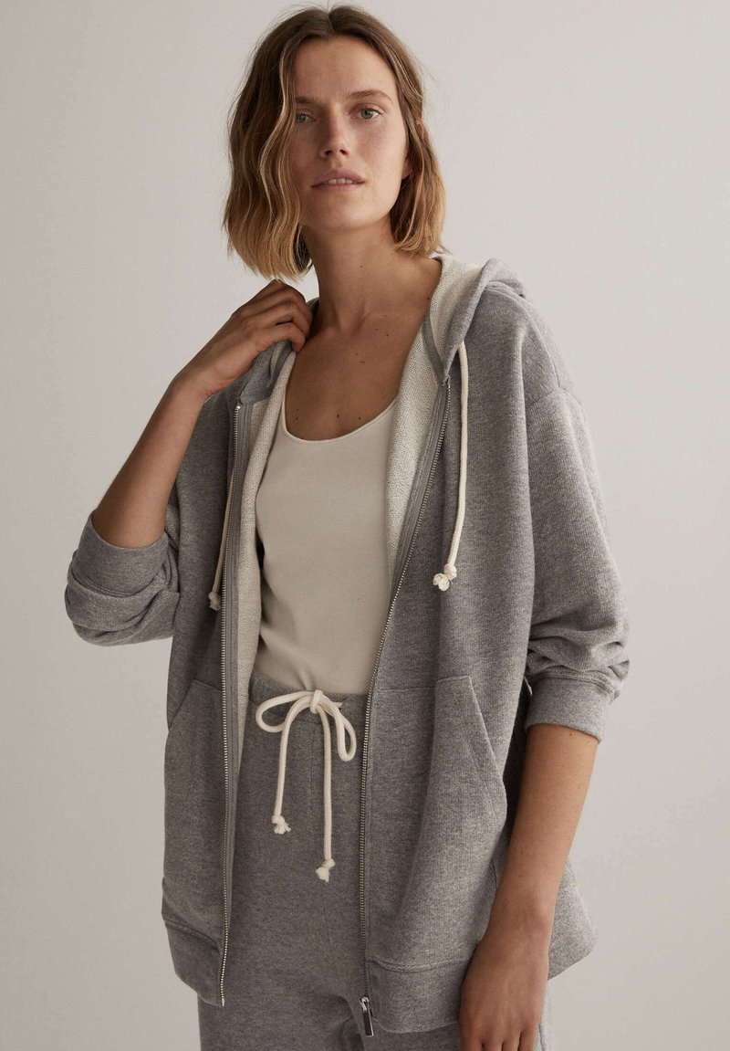 OYSHO - Zip-up hoodie - light grey